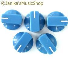 5 blue potentiometer switch knobs guitar  amplifier etc stove pot knob + screw