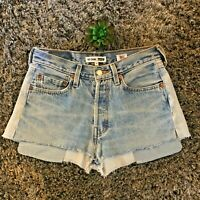 Redone Levis High Rise Two Tone Relaxed Denim Jeans Shorts - Sz 24