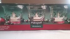 Pfaltzgraff Winterberry Votive w/Candle, set of 3, red, Holly Berries, Christmas