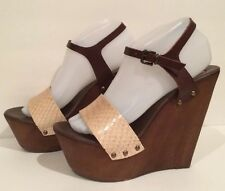 Steve Madden Behold Sandals Wooden Platform Wedge Leather Brown 10 Italy Nice!!!