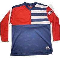FILA Retro Vintage 90s Hockey Jersey Red White Blue Size Medium USA Flag