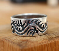 Sterling Silver 925 Blackened Carved Asian Dragon East Men's Ring 12.0 g.Size 12