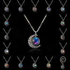 Silver Tone Crescent Moon Galactic Cosmic Glass Cabochon Pendant Necklace New
