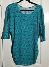 41Hawthorn Women's Blouse Turquoise Navy Geometric Ruched Side Top