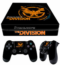 PS4 Slim Skin Tom Clancy The Division Black Orange Logo + Pad Decals Vinyl Laid