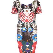 River Island Floral & Foil Print Bodycon Dress Size 10