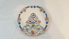 Anthropologie Ered Floral Dinner Plate White Blue Pineapple