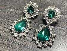 Asos Emerald Green Chandelier Stone STATEMENT CRYSTAL Drop Party EARRINGS