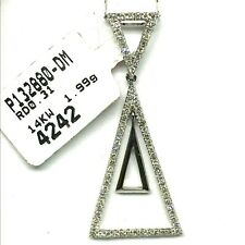 14K White Gold & Diamonds ~ Triple Triangle Drop  Pendant  (Chain NOT included)