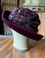 Vintage Magenta Cranberry Velvet Flapper Style Wide Brimmed Hat Festival Holiday