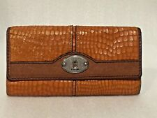 WOMEN'S FOSSIL Tan LEATHER CROC TEXTURE TRI-FOLD Wallet 4 1/4 X 7 1/4