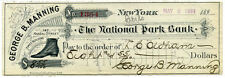 Framed Print – The National Park 1893 Bank Cheque for $8.55/100 (Picture Dollar)