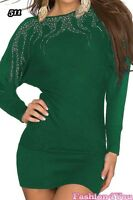 Women's Jumper Dress Batwing Ladies Pullover Casual Tunic One Size 8,10,12,14 UK