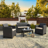 Resin Rattan Wicker Sofa Set Sectional Couch Cushioned Furniture Patio Outdoor