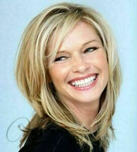 Medium Wavy Cut with Bangs Light Blonde Synthetic Hair Capless wigs 12 In