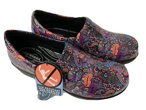 Easy Works By Easy Street Colorful Slip On Clogs Nursing Shoes 9.5 W New