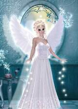 Ice Angel Birthday Card for women & girls adorable in beautiful ice-blue