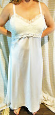 FLORA BRIDAL WHITE SATIN & CHIFFON EMBROIDERED LONG GOWN AND PEIGNOIR SET L XL