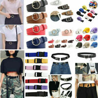 Ladies Women Metal Buckle Wide Strap Belt Dress Jeans Faux Leather Waistband