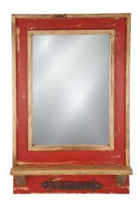 Del Rey Mirror-Key Holder-Farmhouse-Primitive-18x28 in-Rustic-Wood-Wall-Red