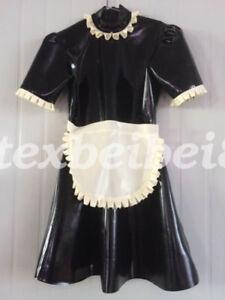 Latex Skirts New 100% Rubber Maid Woman Club Sexy Ruffle Dress Size S-XXL