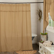 Natural Burlap Soft Cotton Primitive Country Cabin Bath Shower Curtain