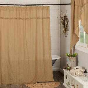 Natural Burlap Soft Cotton Primitive Country Cabin Bath Shower Curtain