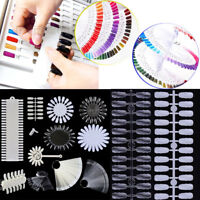 False Nail Tips Polish Practice Display Clear Natural White Fan Wheel Ring Kit