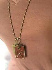 Letter K Two Piece Dog Tag Pendants And Ball Chain Necklace Set-New