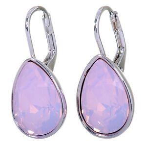 Swarovski Elements Crystal Water Opal Teardrop Earrings Rhodium Authentic 7254u