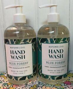 2 NATURE LOVE BLUE FOREST HAND WASH CEDAR SANDALWOOD VANILLA 16 OZ.