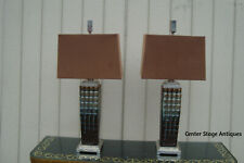 60816 Pair Mid Century Modern Pottery Table Lamps w shades