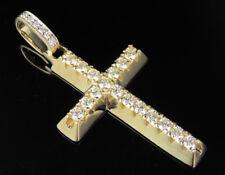 "Men's 14K Yellow Gold Real Diamond 1 Row Cross Pendant Charm 1 3/4 CT 2"""