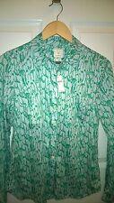 Gap Long Sleeve Button Down Shirt Peguin Print 100% Cotton  Green White  Sz XS