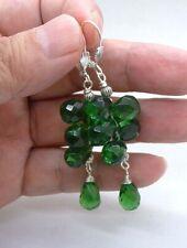 Cluster Emerald Green Quartz Briolette Sterling Silver Earrings A0829