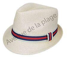 Chapeau style Borsalino avec bande colorée en paille, mixte, taille 58 neuf