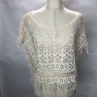 Ecote Tunic Top Womens Crochet Sleeveless Semi Sheer Boho Top Layer Medium C308