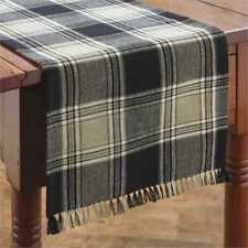 Primitive Country Soapstone Table Runner 13X36 Black Brown Beige Ivory Plaid