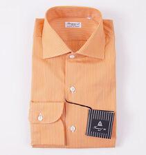 NWT $425 FINAMORE Orange Fine Stripe Cotton Dress Shirt 15.75 x 36 Modern-Fit