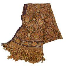 Sanskriti  Brown Woolen Shawl Woven Work Long Stole Soft Scarf Floral