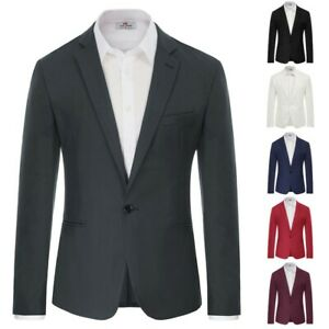 Slim Fit Coat Blazer One Button Work Office Suit Casual Formal Tops Solid