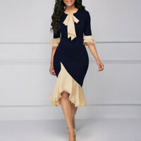 Lady Patchwork Long Dress Flouncing Hem 3/4 Sleeve Bridesmaid Cocktail Prom Gown