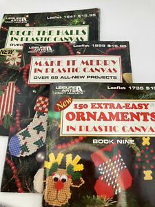 Lot 3 Leisure Arts Holiday Plastic Canvas Crafts Leaflets Christmas Ornaments