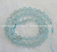 "Natural 6mm Faceted Blue Aquamarine Gemstone Round Loose Beads 15"""