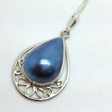 Blue Mabe Pearl Pendant Necklace Solid Sterling Silver, Actual One. Filigree.