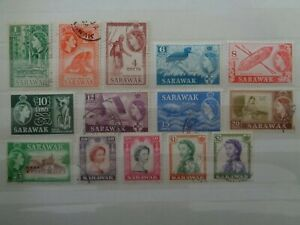 SARAWAK 1955-59 QUEEN ELIZABETH DEFINITIVES 14 x VALS TO $2 MINT & USED