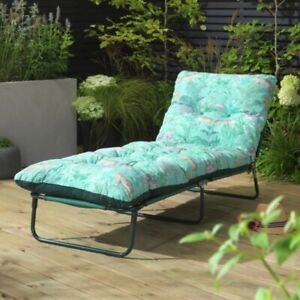 Padded Reclining Sun Lounger Day Bed Green - NDD (Chaise Cushioned Garden Chair)