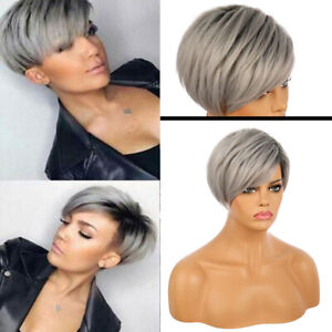 Women Gray Short Straight Wigs Pixie Cut Black Root Full Wigs Synthetic Hair Wig