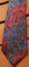 Bill Blass Tie Necktie Paisley Red Gray All Silk Excellent Condition