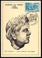 FRANCE FDC - 1973 14 JOURNEE DU TIMBRE - 1749 - VIENNE - sur CARTE POSTALE